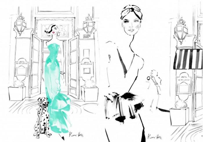 Les illustrations de Kerrie Hess au Palace Le Meurice