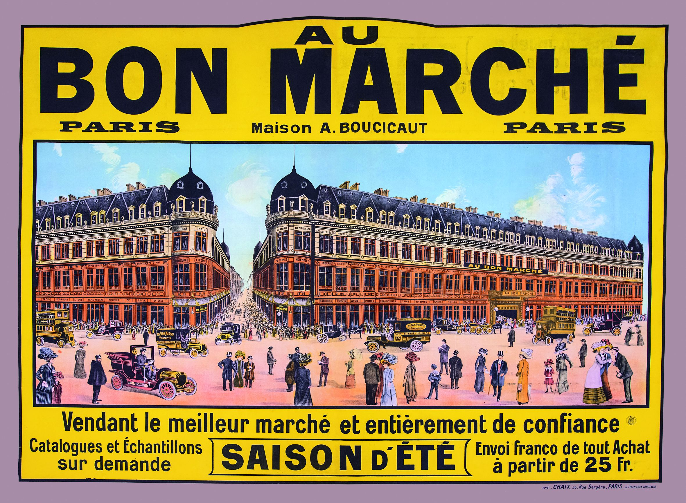 maryo 39 s bazaar archives bon marche affiche publicitaire environ 1910. Black Bedroom Furniture Sets. Home Design Ideas