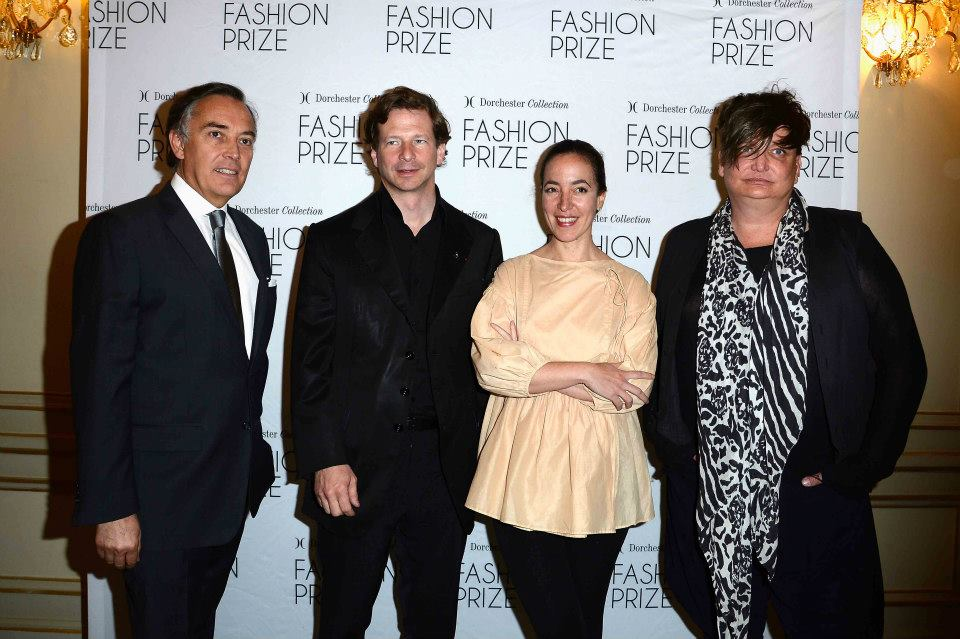PARIS, FRANCE - MAY 03: Francois Delahaye (L), Lorenz Baumer, Pamela Golbin and Kappauf (R) attend the 2013 Launch of the Dorchester Collection Fashion Prize 2013 at Hotel Plaza Athenee on May 3, 2013 in Paris, France. (Photo by Pascal Le Segretain/Getty Images for Dorchester Collection Fashion Prize 2013) *** Local Caption *** Francois Delahaye;Lorenz Baumer;Pamela Golbin;Kappauf 2013 Getty Images