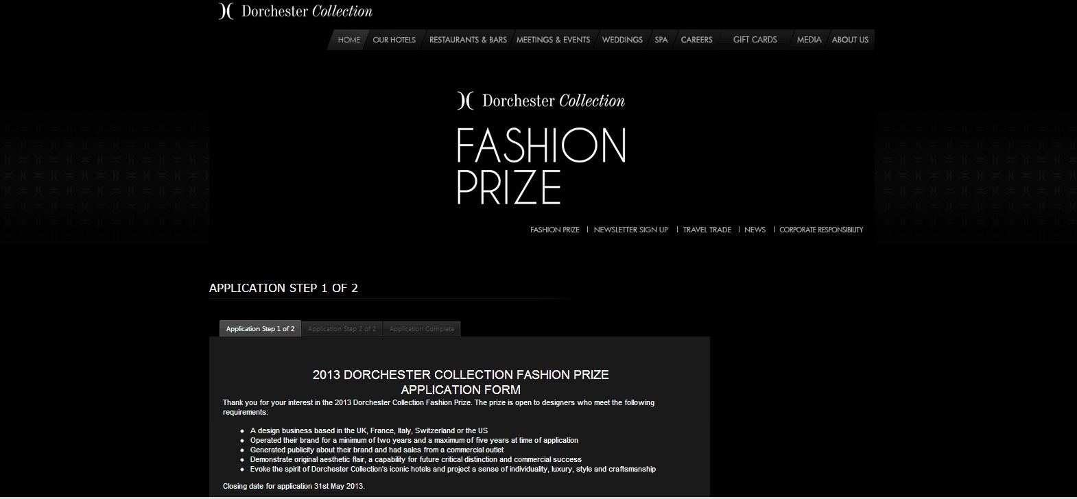 application dorchester colleciton fashion prize