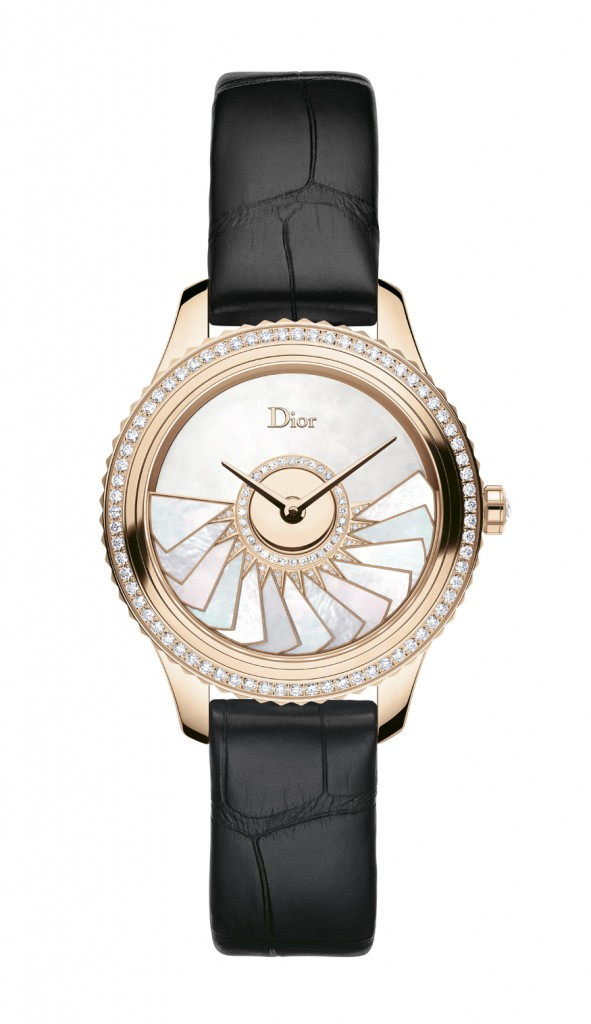 DIOR VIII GRAND BAL PLISSE SOLEIL OR ROSE ET DIAMANTS 36 MM - BRACELET ALLIGATOR Face