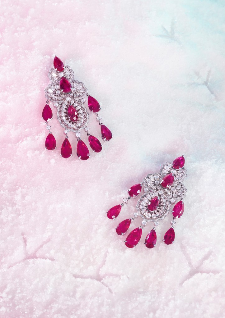 Still life picture - ruby earrings
