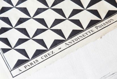 Antoinette poisson papier dominoté imprimé avant mise en couleur 2