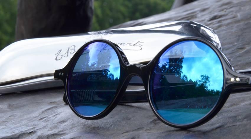 lunettes meyrowitz claude monet acetate noire verres bleus miroir