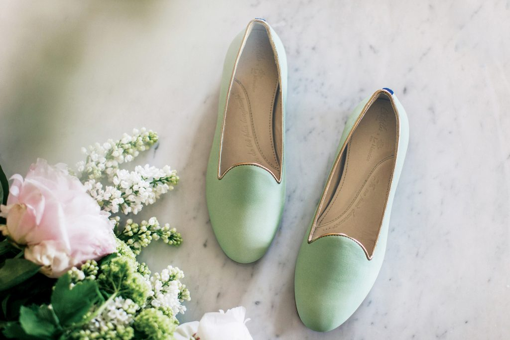Collaboration Chatelles x Le Meurice - Slippers Meurice Cuir Vert Meurice et Bordure Or Rose 190€ www.mychatelles.com