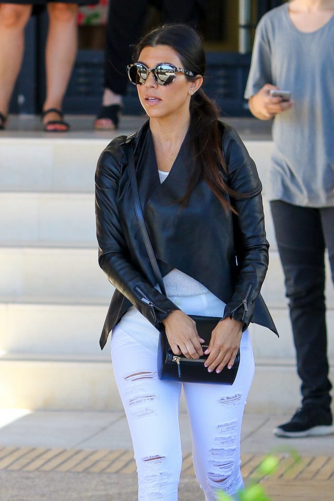 Beverly Hills, CA - Kourtney Kardashian shops with some friends and son Reign Aston Disick at Barneys New York in Beverly Hills. Kourtney pushes her little guy in his stroller as she returns to her car at the valet with friends following a visit to the popular clothing store. Kourtney stepped out with friends in white jeans, a leather jacket and platform creepers. AKM-GSI June 25, 2015 To License These Photos, Please Contact : Steve Ginsburg (310) 505-8447 (323) 423-9397 steve@akmgsi.com sales@akmgsi.com or Maria Buda (917) 242-1505 mbuda@akmgsi.com ginsburgspalyinc@gmail.com