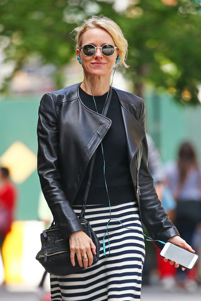 EXCLUSIVE: Naomi Watts Spotted wearing a leather biker jacket and striped dress as she rides her CitiBike around the West Village, NYC Pictured: Naomi Watts Ref: SPL1284843 180516 EXCLUSIVE Picture by: Splash News Splash News and Pictures Los Angeles: 310-821-2666 New York: 212-619-2666 London: 870-934-2666 photodesk@splashnews.com