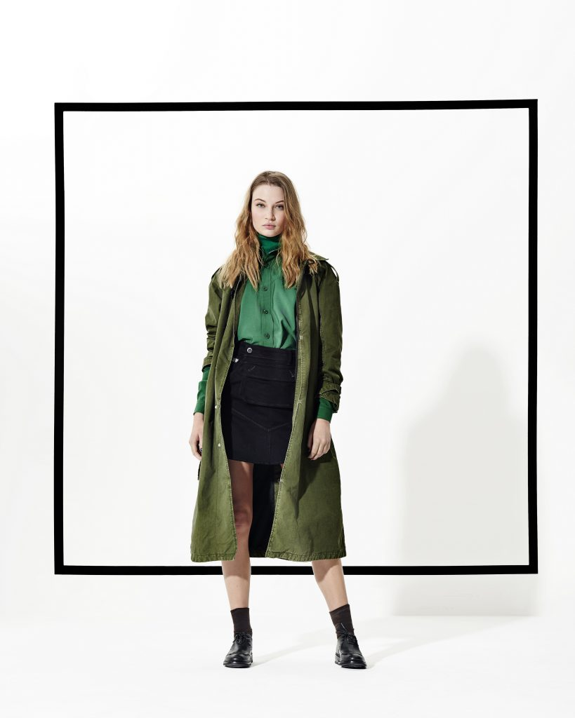 MINOR A-LINE LOOSE TRENCH WMN, D02218-7937-6059, ARMY NP BF SHIRT WMN L/S, D02506-7063-6091, 5620 POUCH SKIRT, D02565-4412-001, WMN GUARD BLACK, D02703-098-990