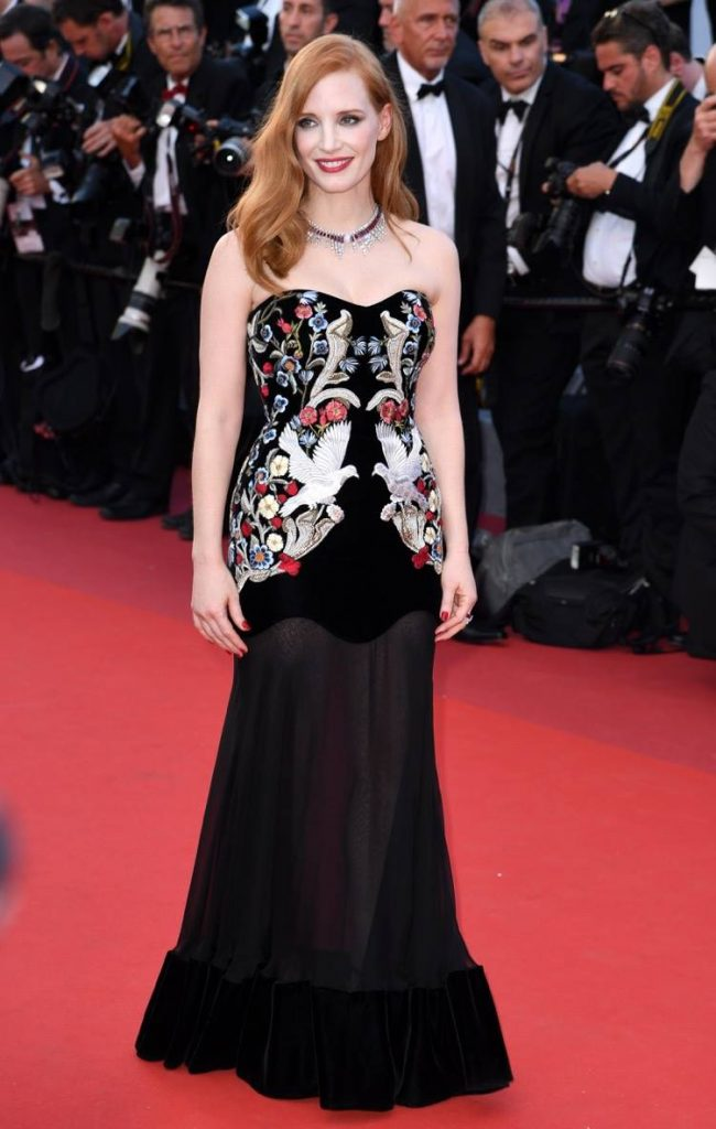 Jessica Chasgtain in Alexander McQueen and Piaget