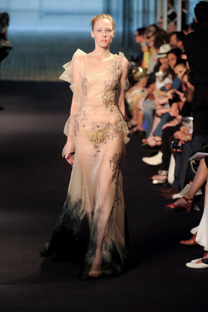 PARIS, Jul 7, 2009 – A model walks the runway wearing Julien Fournie Haute Couture Fall 2009 collection. (Photo courtesy of Julien Fournie)